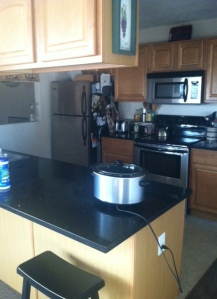 Kitchen, and yes that is the crock pot cooking our dinner!
