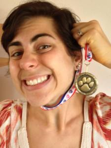 My medal! I swear I'm not choking myself with it!