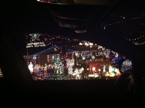 House in our neighborhood with a CRAZY amount of lights. Pretty sure you could see this house from outer space!