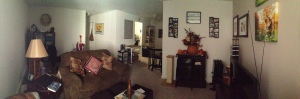 Shot of the living room/office and the dining room. This is where most of our attention has been focused for the time being!