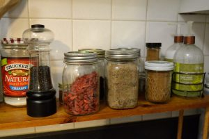 My numerous glass jars. Great for storing grains and spices!