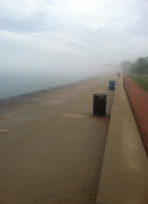 Super foggy day on the lake.  It was eerie and cool