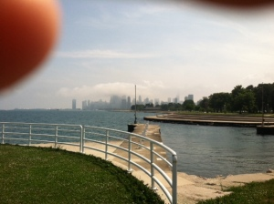 Excuse my finger, but a pretty nice shot of the skyline other wise