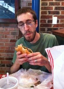 More food. Enjoying an italian beef at Portillos. The boy loves his food