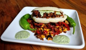 Arepas with Chipotle Sausage Crumbles & Cilantro Sauce | Life Healthfully Lived