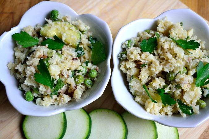 Zucchini and Pea Cauliflower Risotto | Life Healthfully Lived