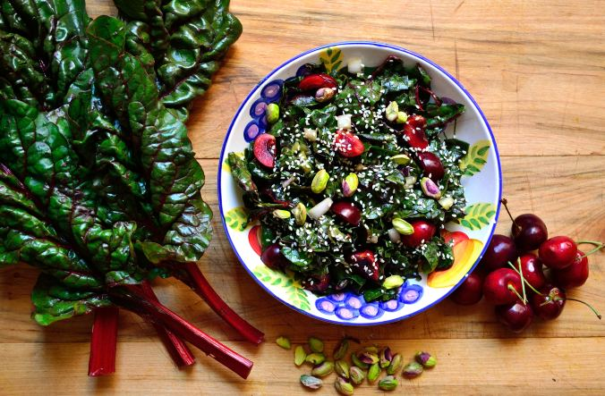 Swiss Chard & Cherry Salad with Avocado Dressing | Life Healthfully Lived