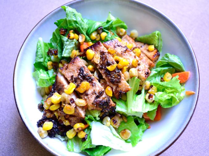 Balsamic Pork On Roasted Corn & Shallot Salad | Life Healthfully Lived
