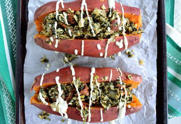 Spinach Artichoke Stuffed Sweet Potatoes | Life Healthfully Lived